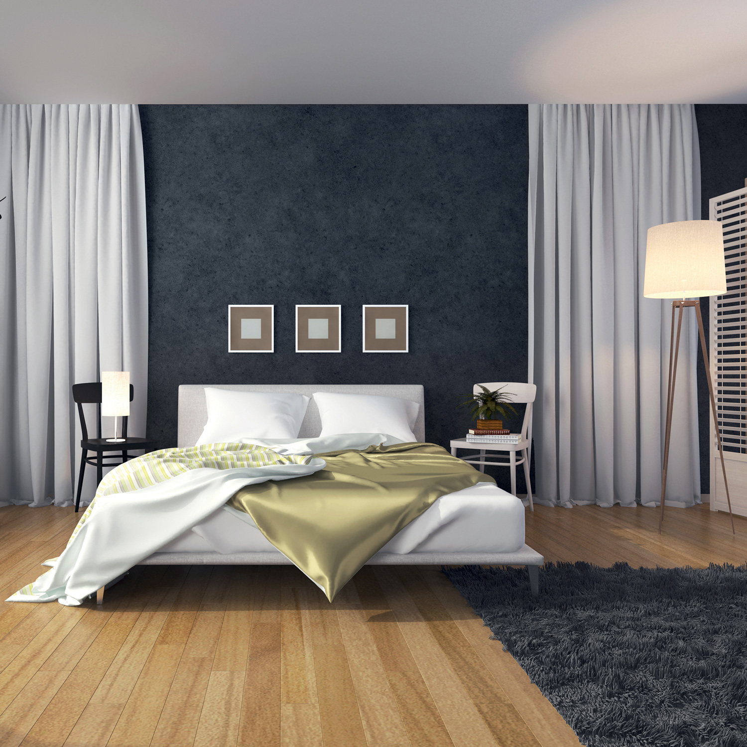 Boero USA paint finish, metallic grit featured on this bedroom wall